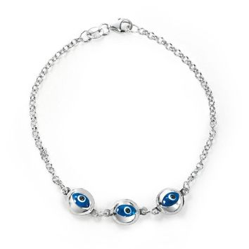 Turkish Translucent Blue Evil Eye Charm Link Bracelet Sterling Silver