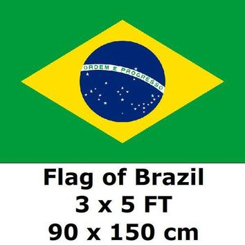 Brazil Flag 3` x 5` FT 100D Polyester 2018 World Cup Flags Brasil Brazilian Flags and Banners Country Banner National Flag