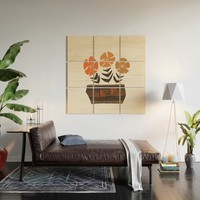 Floral vibes II Wood Wall Art by vivigonzalezart