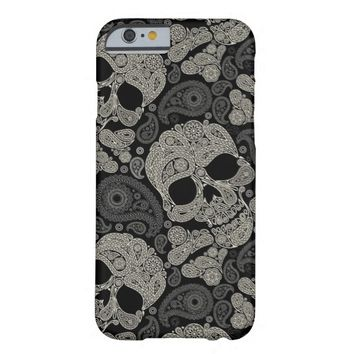 Vintage Sugar Skull Crossbones Pattern Barely There iPhone 6 Case