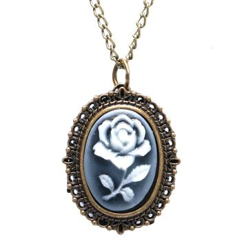 Women's Gift Simple Rose Case Antique Pocket Watches Casual Quartz Fob Pendant With Necklace Chain Steampunk Time
