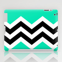 TEAL COLORBLOCK CHEVRON iPad Case by natalie sales