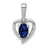 Sterling Silver Oval Created Sapphire and Diamond Heart Pendant