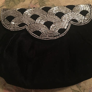 Vintage Evening Bag, Andre Cellini Purse, Beaded Evening Purse, Black Evening Clutch, Black Suede Purse, Black Beaded Clutch, Art Deco Bag