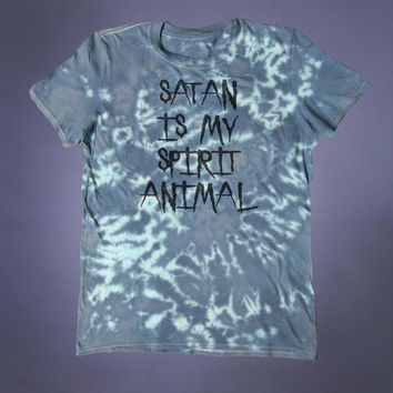 Satanic Shirt Satan Is My Spirit Animal Slogan Tee Evil Devil Satanism Grunge Alternative Clothing Goth Tumblr T-shirt