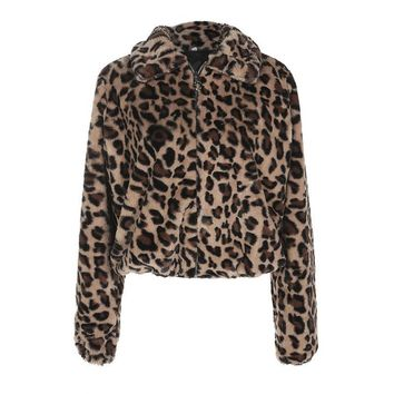 New Luxury Faux Fur Coat Leopard Print Winter Jacket Turn Down Collar Slim Women'S Outerwear Casaco Feminino Ropa Invierno Mujer