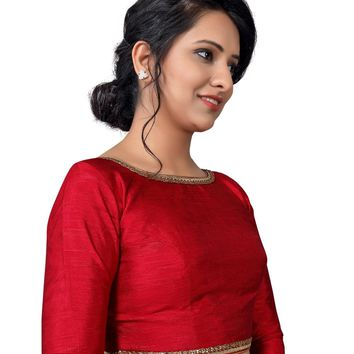 Maroon Raw Silk Long Sleeve Saree Blouse SNT-X-458-SL
