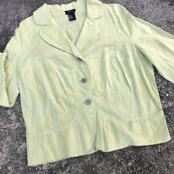 RQT Women's Size Large Linen Blend Lime Summer Blazer