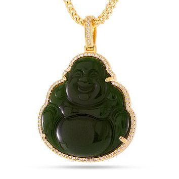 The 14K Gold Buddha Necklace (Jade)