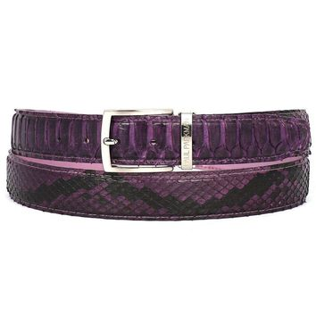 PAUL PARKMAN Men's Purple Genuine Python (snakeskin) Belt (ID#B03-PURP)