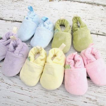 So Soft Pastels Cotton Velour  All Fabric Baby Shoes Booties Easter Basket Shower Gift