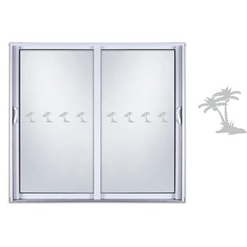 Etched Glass Vinyl Decals Sliding Door Safety Stickers Palm Tree