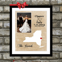 Personalized Map New York Wedding ANY State Art Gift: Anniversay Engagement Birthday Wife Husband Couple Picture Gift Custom Photo Mat 11x14