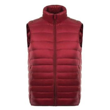 Man Thin Light Waistcoat Vest Down Coat Plus Size   red