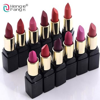 12pcs/Set lip kit matte Velvet Lipstick Long Lasting Nutritious Lip Sticks Lip Balm Lips Makeup Batom Cosmetic HengFang
