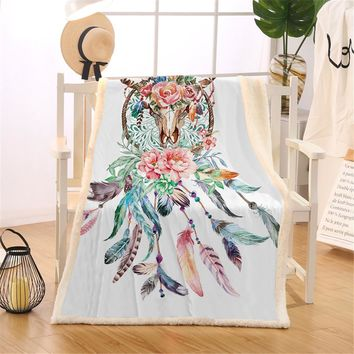 BlessLiving Cow Skull Decorative Throw Blanket Dreamcatcher Feathers Roses Native American Fleece Thin Quilt Sherpa Bed Blanket