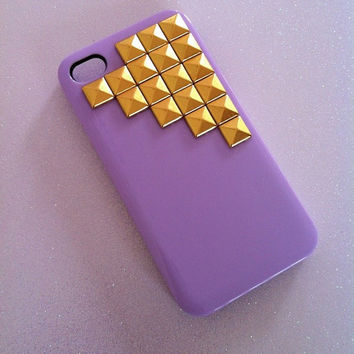 Pastel Lavender x Gold Studs iPhone 4 4s Case