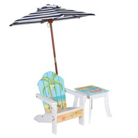 Teamson Kids - Outdoor Kids Table and Adirondack Chair Set with Umbrella - Beach Summer