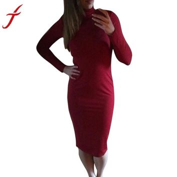 Feitong Office Lady Dress Women's Work Wear Dresses Casual Long Sleeve Knee-Length Dress Sheath Fashion Turtleneck Party vestido
