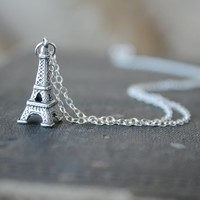 Sterling Eiffel Tower Necklace