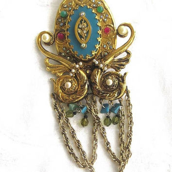 """Vintage Heraldic Brooch, Jeweled Dangle Chain Pin, Large and Dramatic, 6"""" Brooch, Vintage Jewelry"""