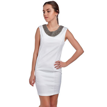 WHITE BODYCON DRESS WITH COLLAR EMBELLISHED