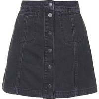 MOTO Black Button Front Skirt - Black