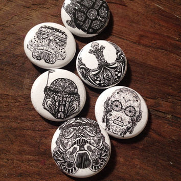 Star Wars button collection, C3PO, Boba Fett, stormtrooper,