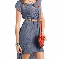 belted printed cap sleeve dress $33.40 in BLUE MUST - Casual | GoJane.com