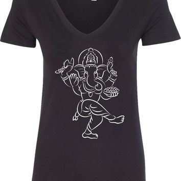 Womens Yoga T-shirt Sketch Ganesha White Print Blended V-neck