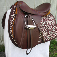 English All-Purpose Saddle Pad:  Brown and Ivory Giraffe Print with Brown Backing and Trim