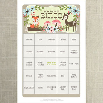 Instant Download - Woodland Baby Shower Bingo  - 50 Baby Shower Games - Twin Baby Shower - Neutral Baby Shower - Fox Theme - Woodland