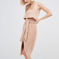 Lavish Alice Bandeau Cropped Tie Front Midi Dress at asos.com