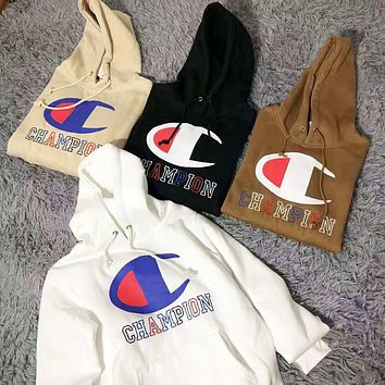 Champion Autumn And Winter New Fashion Bust Embroidery Letter And Logo Print Keep Warm Hooded Top Long Sleeve Sweater