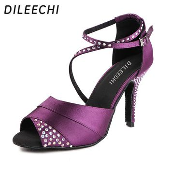 DILEECHI Women's Purple Blue Satin rhinestones Latin dance shoes Crystal Ankle Party Wedding Ballroom dancing shoes high heels