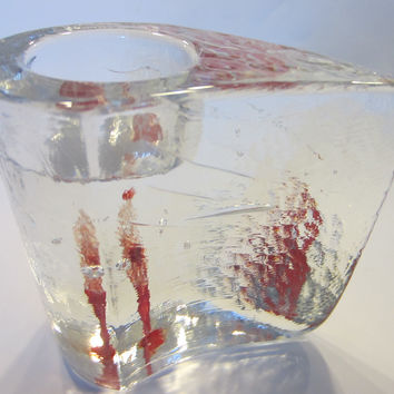 Kosta Boda Sweden Votive Tealight Candle Holder Icy Design Red Candle