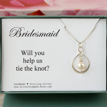 Will you help us tie the knot Bridesmaid Gift for Bridesmaids jewelry, silver necklace, wedding party gift, bridesmaid invite, boxed gift