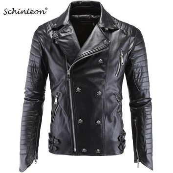 Trendy Male Plus Size Leather Jacket Skull Rivet Studded Punk Rock Men Motorcycle Black Leather Biker Coat Autumn Outwear AT_94_13