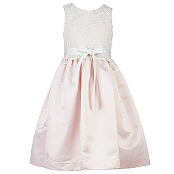 Us Angels 7-14 Lace-Overlay Dress - Ivory/Blush