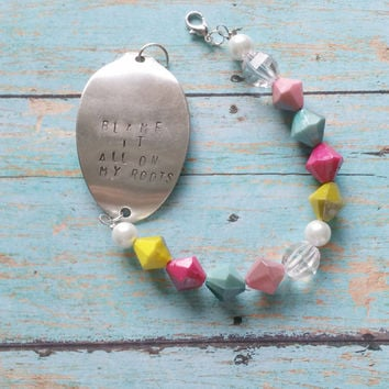 Upcycled Spoon Bracelet / Hand Stamped Jewelry / Sterling Silver / Faux Pearl Bracelet / Cowgirl Chic Jewelry / Country Music Lyrics