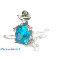 Whale Tail Necklace, Swiss Blue Topaz Pendant, Sterling Silver Chain