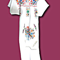 White mexican dress embroidery flower, Dress embroidered with colorful flower, mexico mexican dress, frida mexican dress white, Gift-for-her