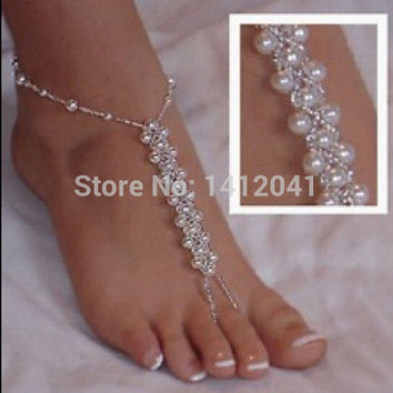 Sexy Beautiful Bridal Jewelry Pearl Foot Ankle Chain Toe Ring Beach