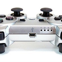 Wireless Bluetooth Controllers, Donop® Gaming pad joysticks include Donop Black silicone wristband for Sony PlayStation 3 Double Shock PS3 - Silver