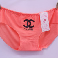 CHANEL Summer new style no trace low waist women letter print underwear Watermelon red