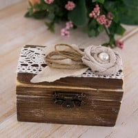 Ring Pilow Set Ring Holder Wedding Ring Box His and Hers Set Rustic Wooden box