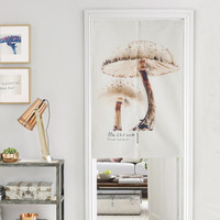 Japanese Noren Doorway Curtain / Tapestry with Farmer's Market (Mushroom)