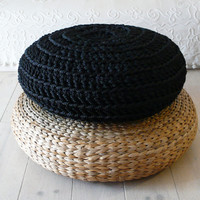 Floor Cushion Crochet - Giant knit - BLACK