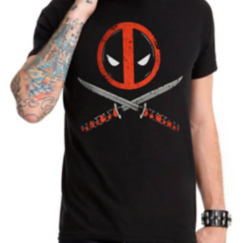 Marvel Deadpool Logo Crossed Swords T-Shirt
