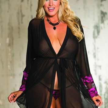 Shirley Of Hollywood Robe Stretch Knit And Two Tone Lace Robe And G String